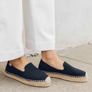 Soludos Platform Espadrille Black Slip On Loafer 7